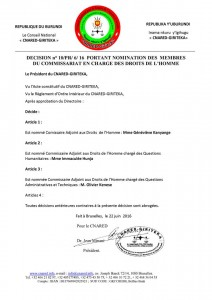 Nomination des Commissaire Adjoints aux Droits de l'Homme