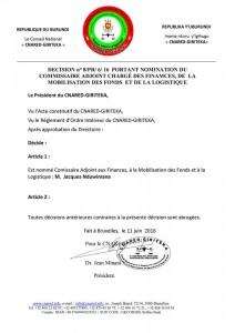 Nomination du Commissaire Adjoint aux Finances, Jacques