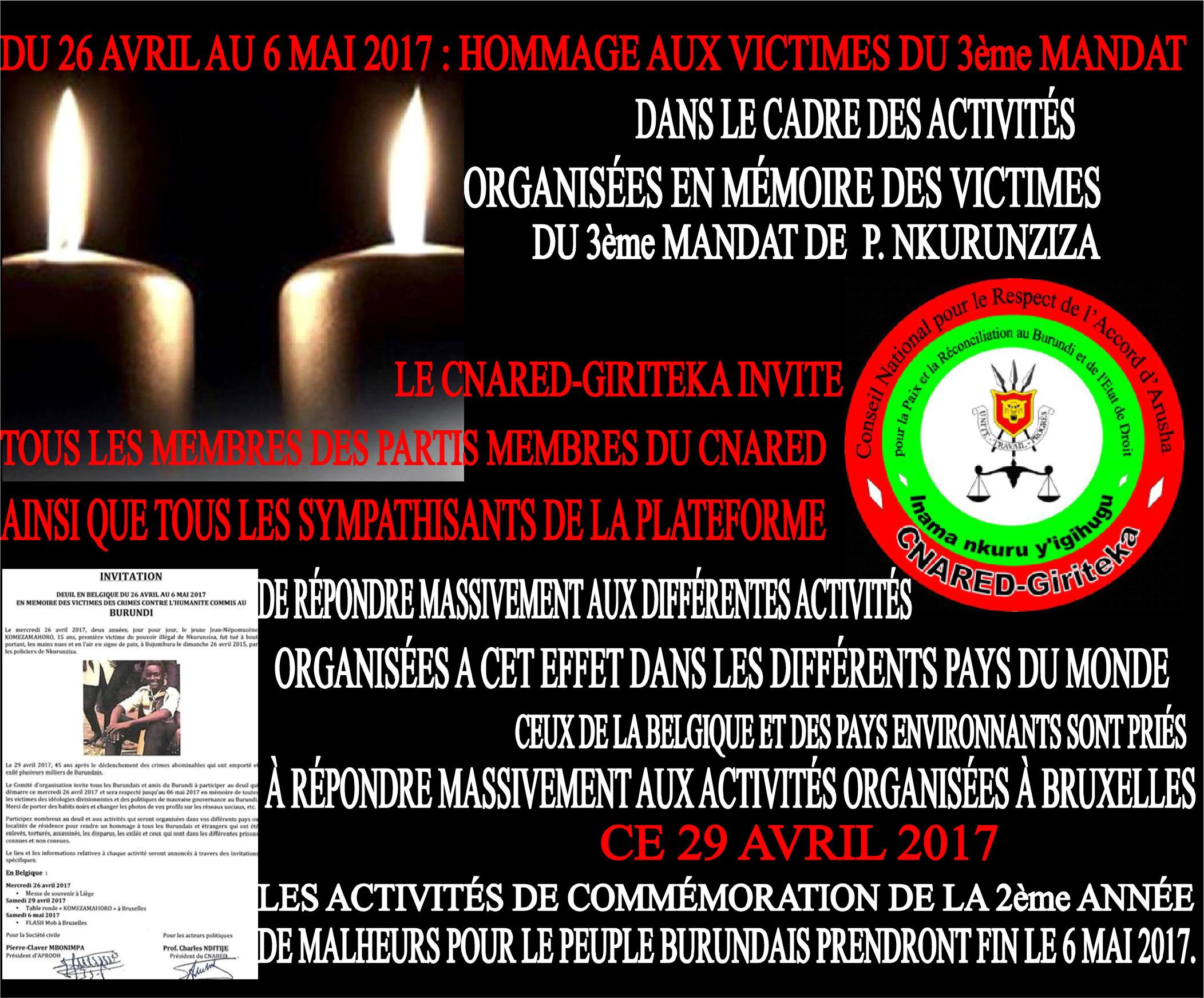 COMMÉMORATION DU 2e ANNIVERSAIRE DU CALVAIRE DU PEUPLE BURUNDAIS: APPEL A LA PARTICIPATION AUX ACTIVITÉS…
