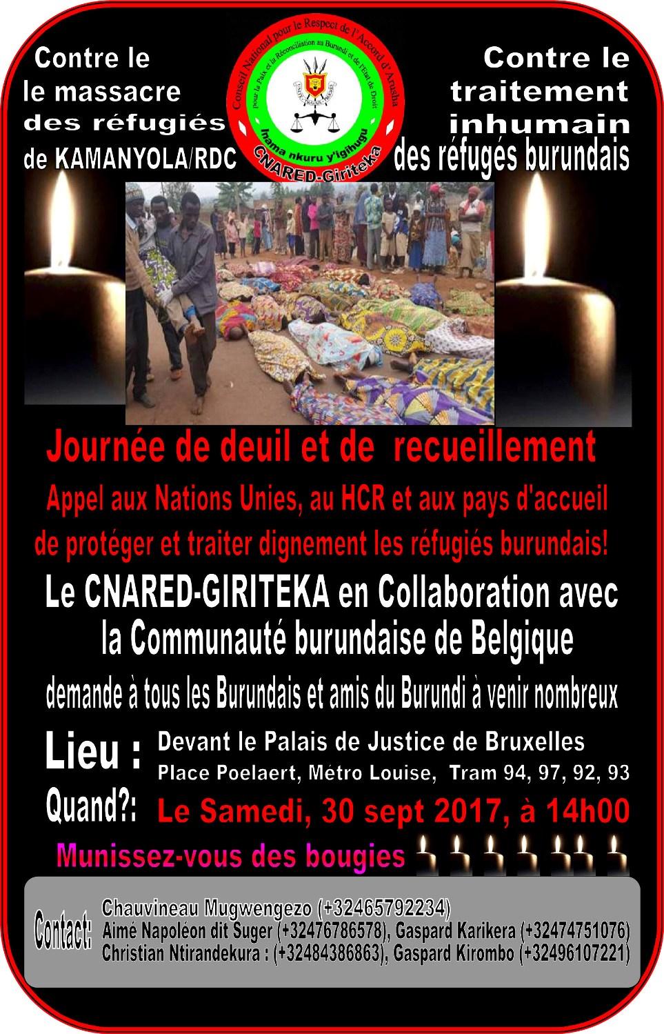 MANIFESTATION A BRUXELLES CONTRE LE MASSACRE DES RÉFUGIÉS BURUNDAIS A KAMANYOLA/RDC